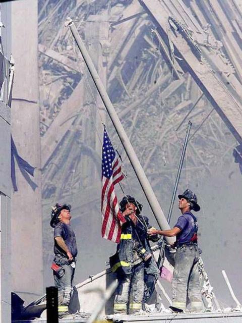 Fireman's flag, Ground Zero, 9-11-01