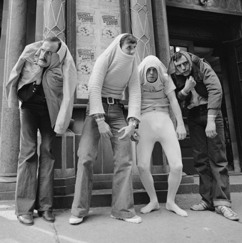 Monty Python crew partaking in tomfoolery