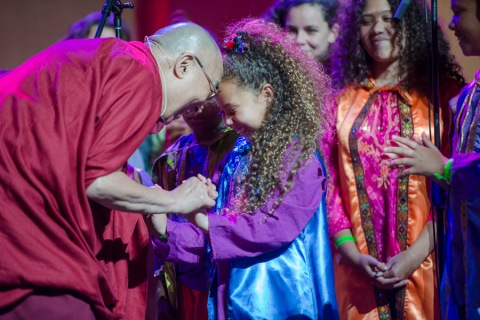 My favorite moment: the Dalai Lama thanking the children's Agape Choir. (photo courtesy of dalailama.com)